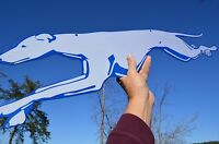 OLD STYLE LG RUNNING DOG GREYHOUND BUS LINES TRAVEL DOG 2 SIDE SIGN USA MADE