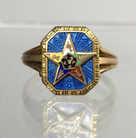 Sz. 4 3/4 10k Gold Order of the Eastern Star Blue Guilloche Enamel Ring Mason