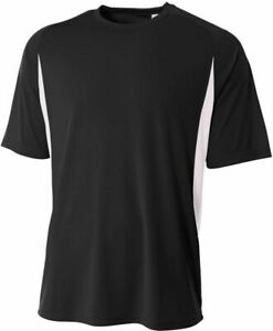 A4 Youth Short Sleeve Color Block Crew Shirt BLACK | WHITE MD