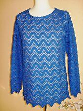 Spitzen-Shirt,doppellagig,blau,blickdicht v.Alfredo Pauly,langarm,Gr.36/38,Neu