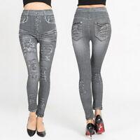 Femme Imitation Denim Jeans Taille Élastique Coupe Droite Slim Stretch Pantalons