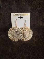 Print Costume Jewelry Dangle earrings Gold Leaf Nwt Circle Filigree