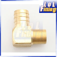 """1""""  Male 90 Elbow Brass Hose Barbs Barb to 1/2"""" NPT Pipe Male Thread"""