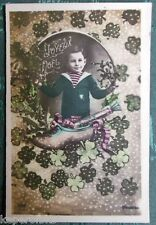 YOUNG BOY SHOE SHAMROCKS COLOR ANTIQUE FRENCH REAL PHOTO JOYEUX NOEL POSTCARD