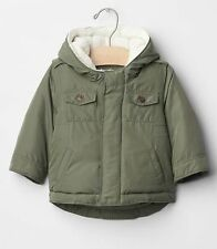 GAP Baby Toddler Boys Size 18-24 Months Green Jacket Puffer Coat w/Sherpa Hood