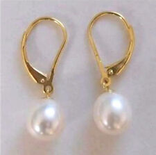 Natural  AAA 10-11mm White South Sea Pearl Earrings 14k GOLD