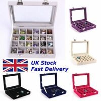 Velvet Glass Jewelry Ring Display Organizer Case Tray Holder Earring Storage Box