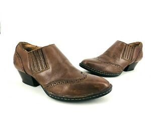 Born Womens Heels Shoes Leather Slip On Perforated Brown Size 9 W82419