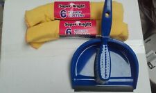 More details for dust pan and brush set plus 12 yellow dusters bargain price large stocks new