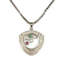 ".750 18ct YELLOW GOLD 0.555ct DIAMOND & Gemstone Box Necklace, 20"" 17.85g - G23"