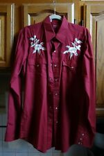 Vintage Chute Mens Red Embroidered Western Shirt 16 35 No Flaws