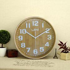 Large Leni Wood Wall Clock - BAMBOO - 40cm Silent Wall Clock - Wooden