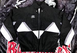 90's Vintage Umbro Full Zip Black Jacket Logo Soccer Men's Size L READ PLEASE!!!