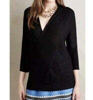 Anthropologie Knitted Knotted Black Faux Wrap Sweater M Medium Wool Blend Knit