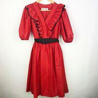 Vintage 80's ALBERT CAPRARO Red Black Taffeta  Ruffle Puff Sleeves Dress Size 4