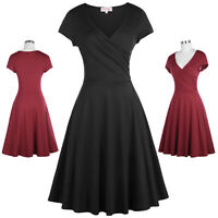 Women's Casual Cap Sleeve V-Neck High Stretchy A-Line Picnic Dress Party Dresses