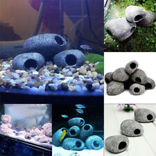 3pcs Cichlid Stone Ceramic Rock Cave Aquarium Fish Tank Pond Ornament Decoration