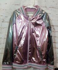 Cat & Jack Girls Jacket Sz L 10/12 Pink Silver Gray Shiny Zip Up Pockets T