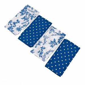April Cornell Felicity Floral Blue & White Dots 100% Cotton Napkins Set of 4