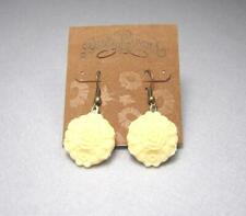 NEW LUCKY BRAND YELLOW LOVE FLOWER DROP DANGLE PUNK GOLD HOOK PIERCED EARRINGS