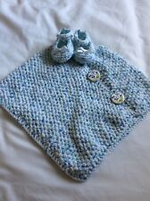 Baby Girls Hand Knitted Poncho with Matching Shoes