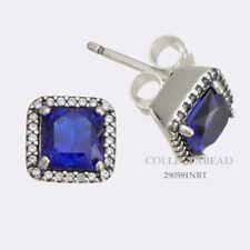 Authentic Pandora Silver True Blue Crystal Square & Clear CZ Earrings 290591NBT