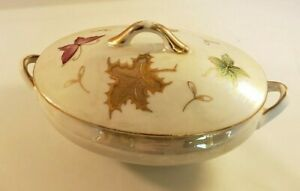 Lusterware Oval Lidded Sugar Bowl Candy/Nut Dish With Gold Trim and Butterfly