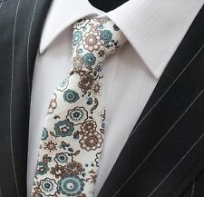 Tie Neck tie Slim Brown with Teal & Brown Floral Quality Cotton T6114