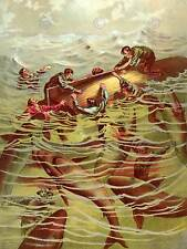 PAINTING 1887 SHARK FRENZY BOAT SINK FINE ART PRINT POSTER CC474