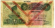 SYRIA 1 Livre 1939  Banknote -P 40e overprint - Banque de Syrie et Du Liban