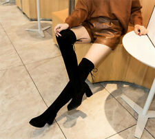 Womens Ladies Thigh High Sexy Velvet Boots Over The Stretch Block Mid Heel Size