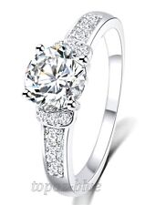 CUBIC ZIRCONIA WEDDING ENGAGEMENT 18K WHITE GOLD PLATED RING SZ 9 ANNIVERSARY
