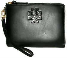 TORY BURCH  Lily Black Leather Zip Pouch Clutch  Wallet Wristlet  Purse NWT