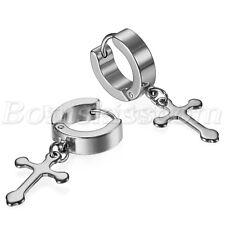 2pcs Men's Womens Stainless Steel Cross Drop Dangle Hoop Ear Studs Clip Earrings