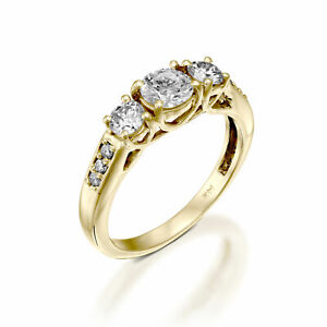 14K Yellow Gold Classic 2.00 CT D/SI1 3-STONE Diamond Engagement Ring Round