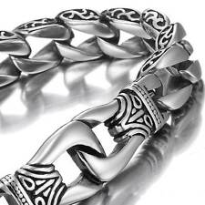 Amazing Stainless Steel Men's link Bracelet Silver Black 9 Inch