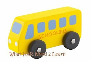 Sevi Wooden School Bus Car Vehicle Kids Boys Toys Pretend Play Gift Age 3+ BNIB