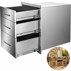 VEVOR Outdoor Kitchen Drawers 35*58CM Stainless Steel 3 BBQ Chest Of Drawers