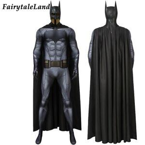Justice League Batman Bruce Cosplay Costume Halloween Costume with Cape Jumpsuit