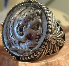 Ancient Authentic Alexander the Great with Ruby Tetradrachm  Men's Ring!