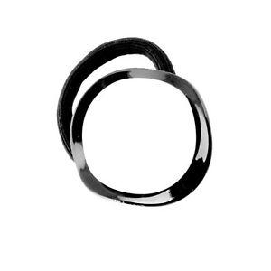 Moliabal Milano Elastic Hair Band-  Black | White Undulating Button