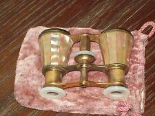 Altesantikes  Opernglas Fernglas Theaterfernglas Messing Perlmutt mit Säckchen