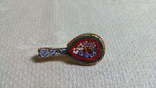 Bead Mandolin C Clasp Brooch Pin Vintage Goldtone Metal Micro Mosaic Glass