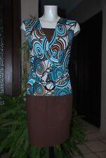 Top Tunique T-shirt bariolé brun turquoise et blanc Taille XS/S Très Bon Etat!