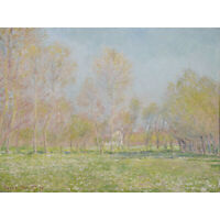 Claude Monet Spring In Giverny 1890 Painting Wall Art Canvas Print 18X24 In