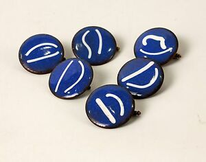 Vintage Copper & Enamel Button Studs Set of 6 1 Inch Diameter Hand Made