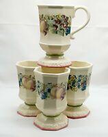 "Avon SWEET COUNTRY HARVEST Pedestal Mugs ~ Fruits Set of 4 8 oz. 5"" Excellent"