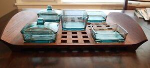 Vintage Dansk Teak Wood Lattice Tray Glass Bowl IHQ Jens Quistgaard DENMARK