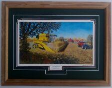 Framed New Holland Combine tractor farm art print Russell Sonnenberg