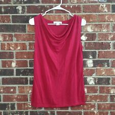 August Silk Women's Size L Red Burgundy Sleeveless Scoop Neck Knit Top